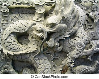 one typical chinese carven dragon one wall to express power and status in ancient china, and can just be used by the emperor.