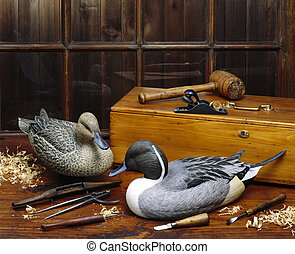 Unbelievable detailing in the handmade carved ducks.