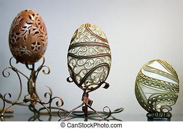 Carved eggs - LUTSK - APRIL 14, 2014: Beautifully carved...