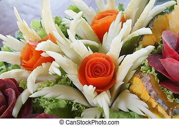 carved fruit vegetable art skill food concept