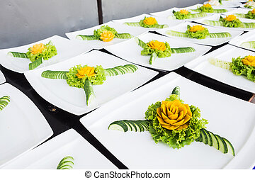 carved fruit vegetable art skill food