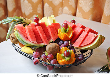 Carved fruits arrangement