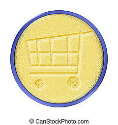 Carved Gold Shopping Cart Button