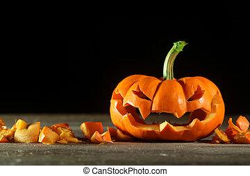 Carved Halloween jack o' lantern