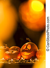 Carved Halloween pumpkin lantern
