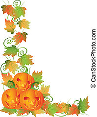 Carved Halloween Pumpkins and Vines Border Illustration -...