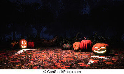 Carved halloween pumpkins in misty night forest -...