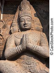 Carved idols on the Gopuram of Nataraja Temple. Chidambaram,...
