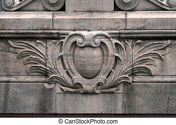 carved ledge - detail of upper ledge of ornate building in...