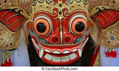 Carved Mask of a Mythical Barong in Bali. Video 1080p -...
