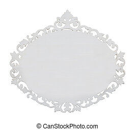 oval wood frame - carved oval wood frame isolated on white...