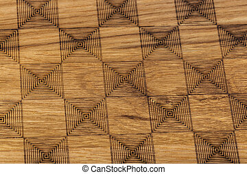 Carved pattern on wood background