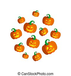 Carved pumpkins for Halloween party. Round print with pumpkins. Vector illustration