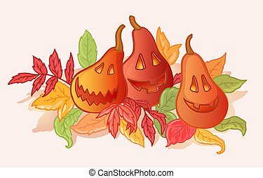 Carved pumpkins with autumn leaves, Halloween illustration