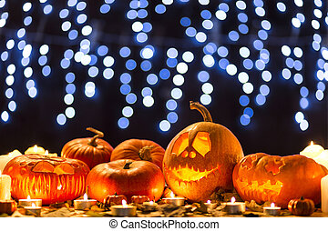 Carved scary pumpkins for halloween