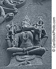 Carved statue of Lord Ganesha (Vinayaki) in Woman form on a wall of Bhuleshvar Temple, Yawat, Maharashtra, India