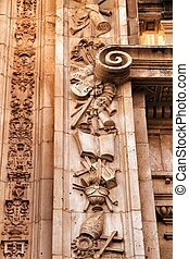 Carved stone details of the Cathedral of Murcia