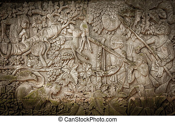 Carved stone wall - Ancient carved stone wall background...