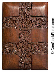 Carved wood decorative floral panel