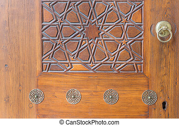 Carved wood panel on a door, Istanbul