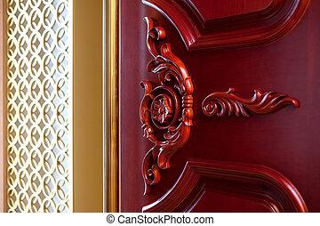 Carved wood texture door mahogany