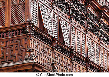 carved wooden balcony