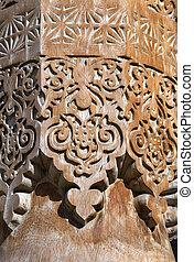 Carved wooden column, Uzbekistan