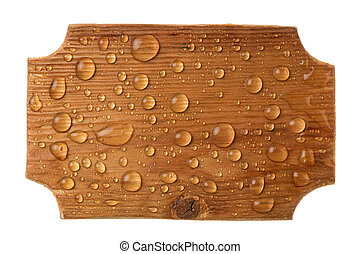 Carved wooden frame in drops of rainwater on a white background.