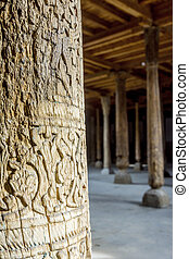 Carved wooden pillars in madrassa, Khiva