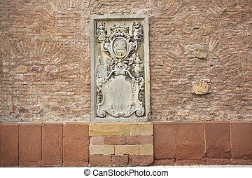 Carving and sculpture statue on the wall of Speyer cathedral...
