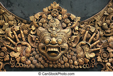 Carving at Pura - Hundreds years old carving at Pura in...