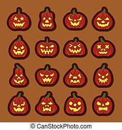 Carving face Halloween Pumpkin icon sticker set