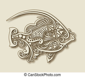 Carving fish animal - Relief floral ornament style in fish...