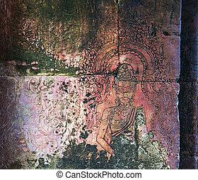carving in Angkor, Cambodia