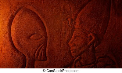 Carving Of Alien Being And Man In Dusty Tomb - Egyptian wall...