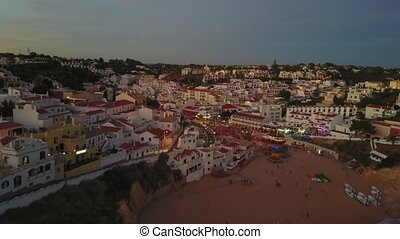 Carvoeiro beach and architecture in coast of Algarve, Portugal