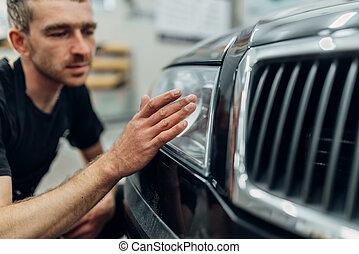 carwash, auto, polieren, scheinwerfer, service