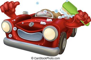 Carwash cartoon - Cartoon car wash character covered in...
