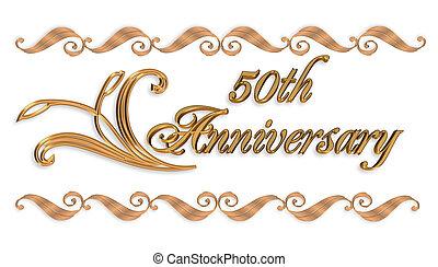 casório, 50th, borda, ouro, convite