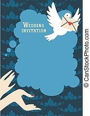 casório, azul, convite