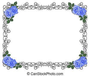 casório, azul, rosas, borda