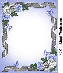 casório, borda, azul, rosas, fitas
