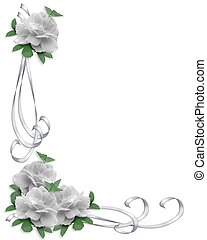 casório, borda, branca, rosas