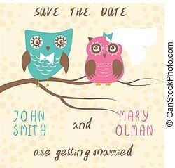 casório, cartão, com, cute, corujas, par.