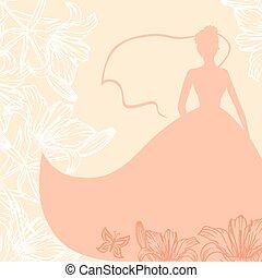 casório, cartão, com, noiva, em, lírios, flores