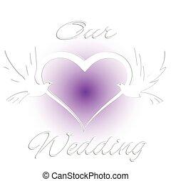 casório, cartão, convite, com, pássaros, e, coração, amor, logotipo