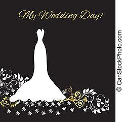 casório, cartão, convite, vestido