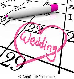 casório, -, casamento, dia, circundado, com, coração
