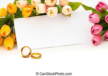 casório, conceito, com, rosas, e, anéis