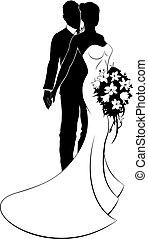 casório, conceito, noiva noivo, silueta